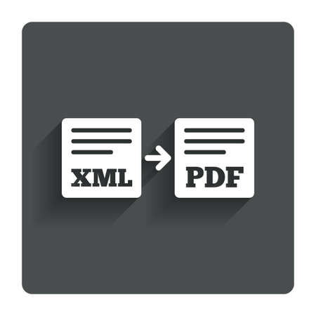 xml: Export XML to PDF icon. Stock Photo