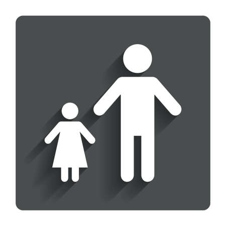 one parent: One-parent family with one child sign icon.  Stock Photo