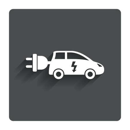 hatchback: Electric car sign icon. Hatchback symbol.