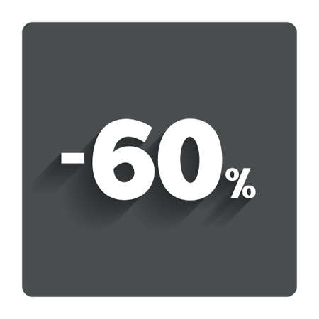 60: 60 por cento �cone de sinal de desconto. Ilustra��o