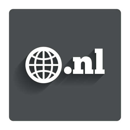 nl: Domain NL sign icon. Top-level internet domain symbol with globe.