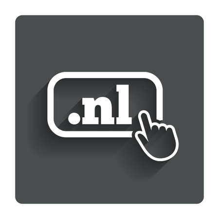 nl: Domain NL sign icon. Top-level internet domain symbol with hand pointer.  Illustration