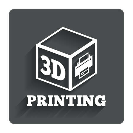 additive manufacturing: 3D Print sign icon. 3d cube Printing symbol.