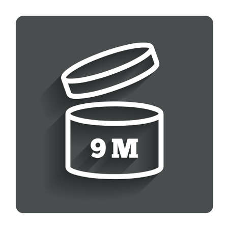use by label: After opening use 9 months sign icon.