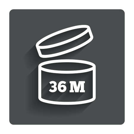 36: After opening use 36 months sign icon.