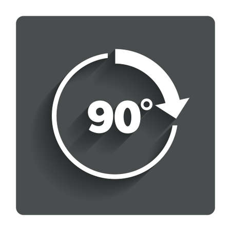 ninety: Angle 90 degrees sign icon.