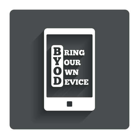 bring: BYOD sign icon. Bring your own device symbol.  Illustration
