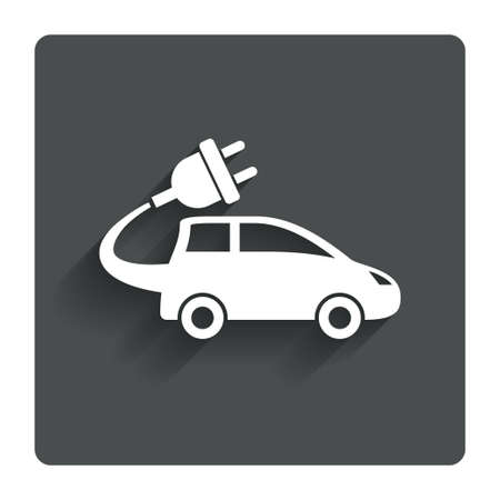 hatchback: Electric car sign icon.