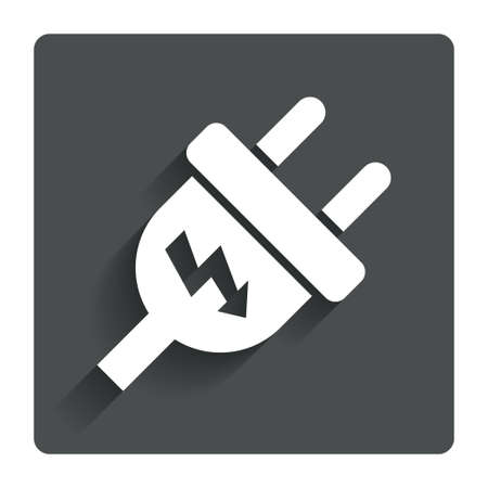 unplugged: El�ctrico icono de signo enchufe. Vectores