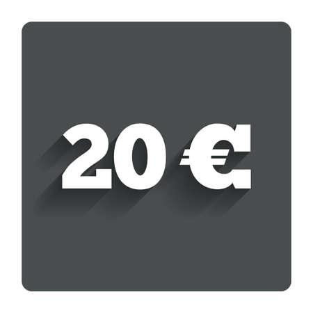 euro teken: 20 Euro sign icon.