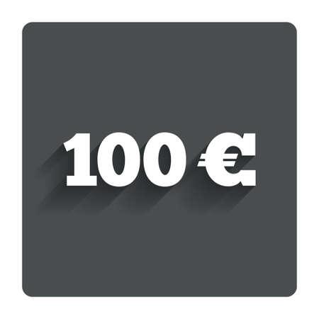 euro teken: 100 Euro sign icon.