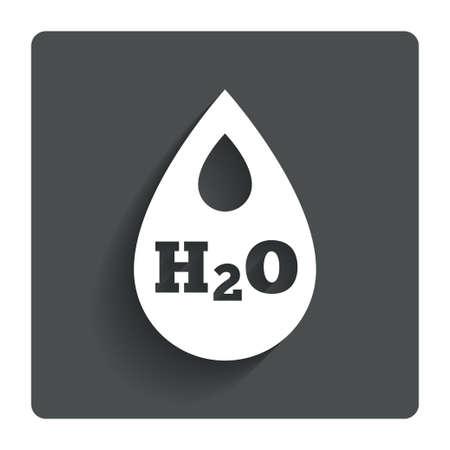 h2o: H2O Water drop sign icon.