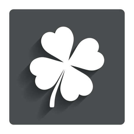 Clover with four leaves sign icon.  Vector