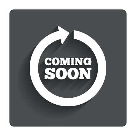 soon: Binnenkort ondertekenen icoon. Stock Illustratie