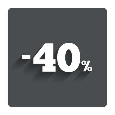 40: 40 percent discount sign icon.  Illustration