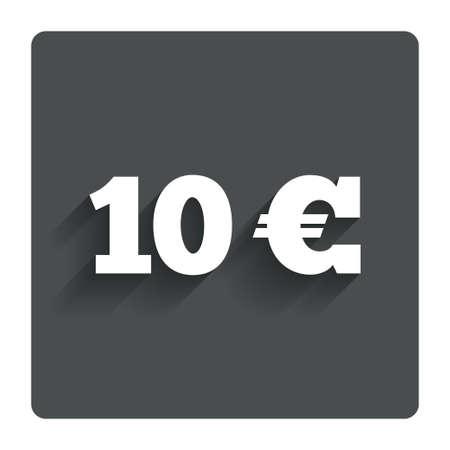 euro teken: 10 Euro sign icon.