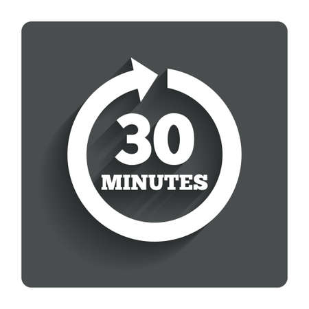 every: Every 30 minutes sign icon. Illustration
