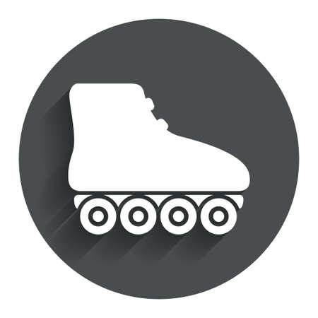 rollerblades: Roller skates sign icon. Rollerblades symbol. Circle flat button with shadow. Modern UI website navigation. Vector Illustration