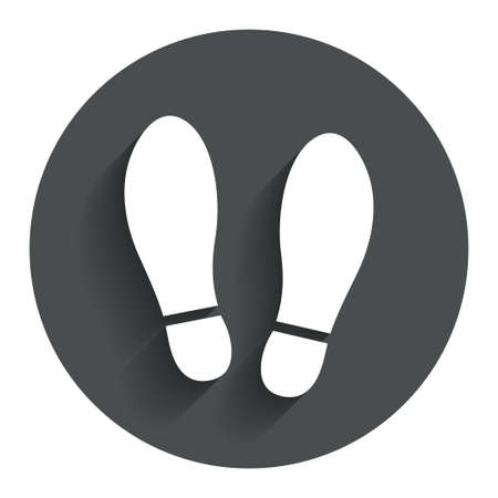shoe print: Imprint soles shoes sign icon. Shoe print symbol. Circle flat button with shadow. Modern UI website navigation. Vector