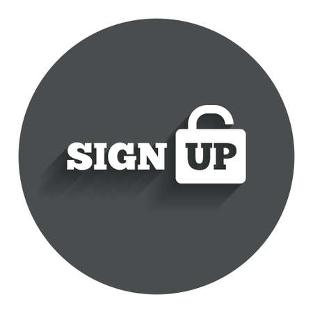 lock up: Sign up sign icon. Registration symbol. Lock icon. Circle flat button with shadow. Modern UI website navigation. Vector