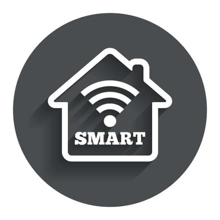 Smart home sign icon. Smart house button. Remote control. Circle flat button with shadow. Modern UI website navigation. Vector