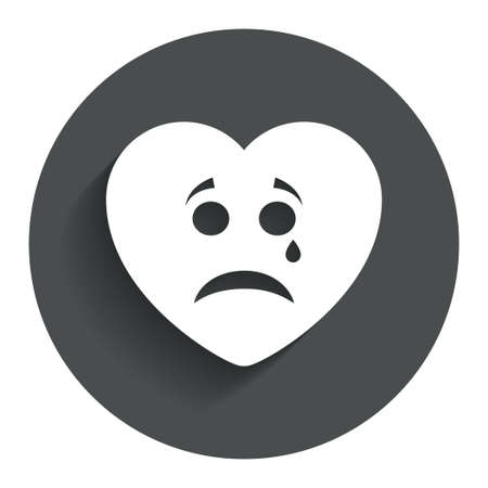 Sad heart face with tear sign icon. Crying chat symbol. Circle flat button with shadow. Modern UI website navigation. Vector Vector