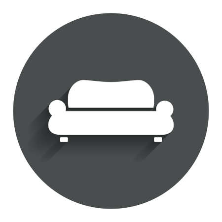 comfortable: Comfortable sofa sign icon. Modern couch furniture symbol. Circle flat button with shadow. Modern UI website navigation. Vector