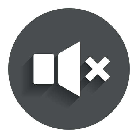 mute: Mute speaker sign icon. Sound symbol. Circle flat button with shadow. Modern UI website navigation. Vector