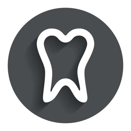 Tooth sign icon. Dental care symbol. Circle flat button with shadow. Modern UI website navigation. Vector Vector