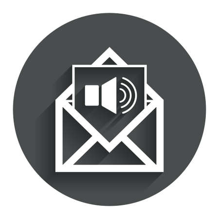 Voice mail icon. Speaker symbol. Audio message. Circle flat button with shadow. Modern UI website navigation. Vector