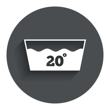 washable: Icono Wash. Lavar a m�quina a 20 grados s�mbolo. C�rculo de bot�n plano con la sombra. Modern sitio web de interfaz de usuario de navegaci�n. Vector