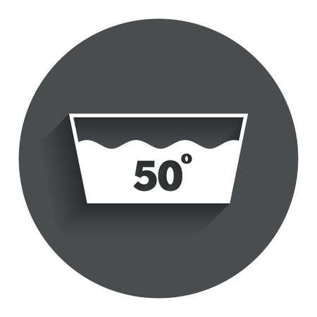washable: Icono Wash. Lavar a m�quina a 50 grados s�mbolo. C�rculo de bot�n plano con la sombra. Modern sitio web de interfaz de usuario de navegaci�n. Vector