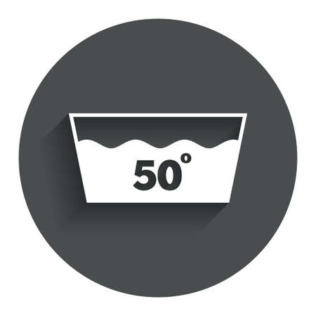 washable: Wash icon. Machine washable at 50 degrees symbol. Circle flat button with shadow. Modern UI website navigation. Vector Illustration