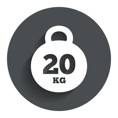 kilogram: Weight sign icon. 20 kilogram (kg). Sport symbol. Fitness. Circle flat button with shadow. Modern UI website navigation. Vector