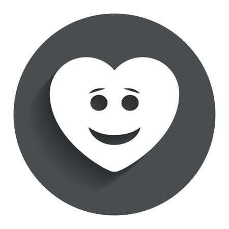 Smile heart face sign icon. Happy smiley with hairstyle chat symbol. Circle flat button with shadow. Modern UI website navigation. Vector Vector