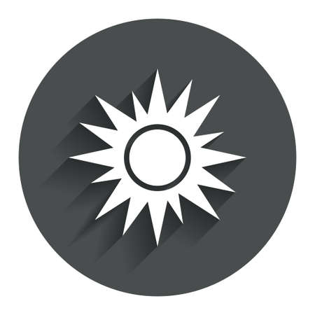 solarium: Sun sign icon. Solarium symbol. Heat button. Circle flat button with shadow. Modern UI website navigation. Vector