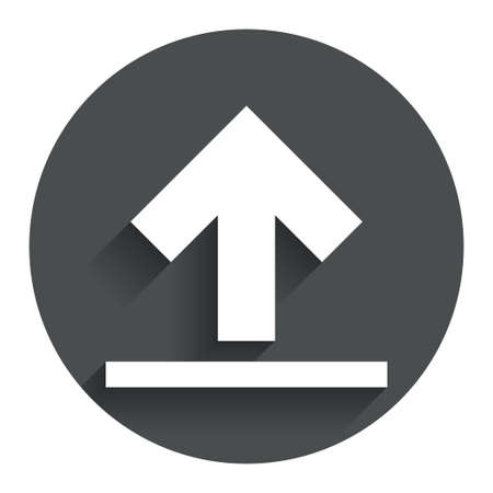this side up: This side up sign icon. Fragile package symbol. Circle flat button with shadow. Modern UI website navigation. Vector