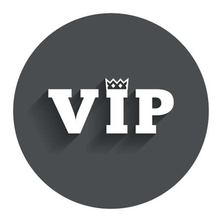 very important person: Vip sign icon. Membership symbol. Very important person. Circle flat button with shadow. Modern UI website navigation. Vector