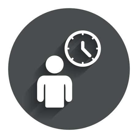 fila de espera: Persona esperando icono de la muestra. S�mbolo de Tiempo. Queue. C�rculo de bot�n plano con la sombra. Modern sitio web de interfaz de usuario de navegaci�n. Vector