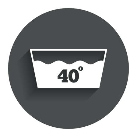 washable: Wash icon. Machine washable at 40 degrees symbol. Circle flat button with shadow. Modern UI website navigation. Vector