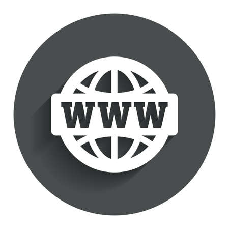 www at sign: WWW sign icon. World wide web symbol. Globe. Circle flat button with shadow. Modern UI website navigation. Vector