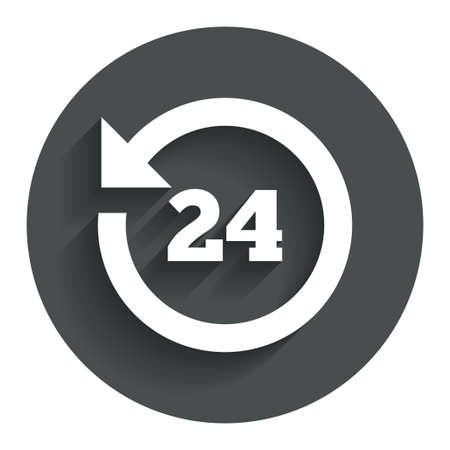 24 hours customer service. Round the clock support symbol. Circle flat button with shadow. Modern UI website navigation. Vector Vector