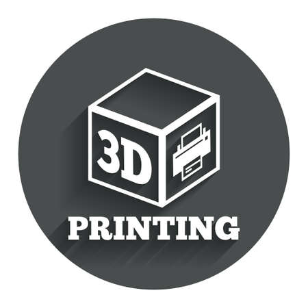 3D Print sign icon. 3d cube Printing symbol. Additive manufacturing. Circle flat button with shadow. Modern UI website navigation. Vector Vector