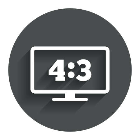 4 3 display: Aspect ratio 4:3 widescreen tv sign icon. Monitor symbol. Circle flat button with shadow. Modern UI website navigation. Vector