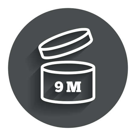 After opening use 9 months sign icon. Expiration date. Circle flat button with shadow. Modern UI website navigation. Vector Vector