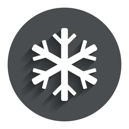 salumi affettati: Snowflake icona segno. Simbolo Aria condizionata. Bottone piatto cerchio con ombra. Sito web UI di navigazione moderna. Vettore