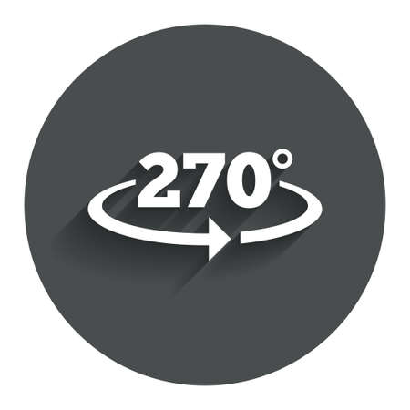 seventy two: Angle 270 degrees sign icon. Geometry math symbol. Circle flat button with shadow. Modern UI website navigation. Vector