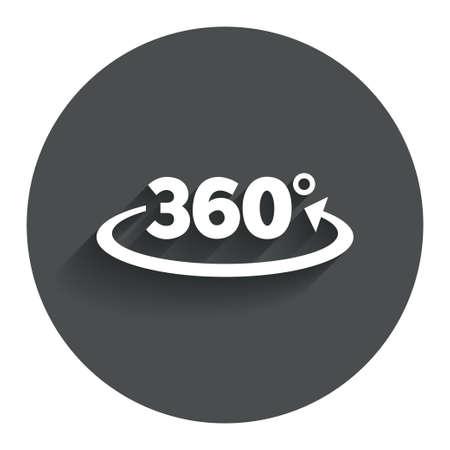 Hoek van 360 graden ondertekenen icoon. Meetkunde wiskunde symbool. Volledige omwenteling. Cirkel platte knop met schaduw. Modern UI website navigatie. Vector Stock Illustratie