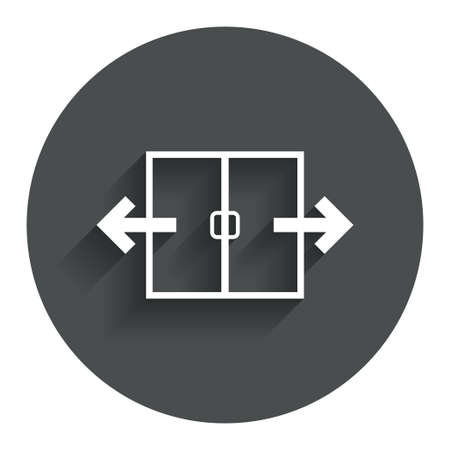 automatic doors: Automatic door sign icon. Auto open symbol. Circle flat button with shadow. Modern UI website navigation. Vector