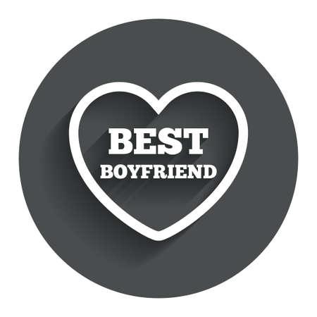kumpel: Bester Freund Symbol. Herz Symbol der Liebe. Kreis Flach Button mit Schatten. Moderne UI Website-Navigation. Vektor